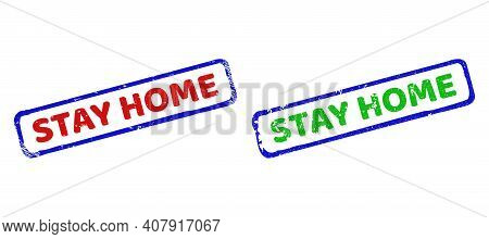 Vector Stay Home Framed Watermarks With Scratched Surface. Rough Bicolor Rectangle Seals. Red, Blue,