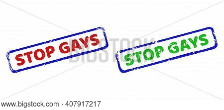Vector Stop Gays Framed Rubber Imitations With Unclean Surface. Rough Bicolor Rectangle Seal Stamps.