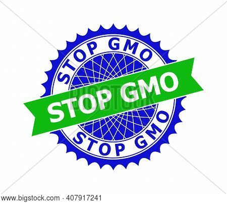 Vector Stop Gmo Bicolor Template For Imprints With Clean Surface. Flat Simple Seal Template With Sto