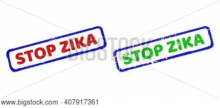 Vector Stop Zika Framed Watermarks With Grunged Style. Rough Bicolor Rectangle Stamps. Red, Blue, Gr