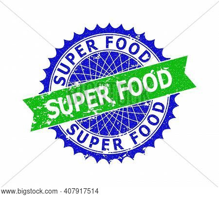Vector Super Food Bicolor Stamp With Rough Surface. Blue And Green Colors. Flat Seal Stamp With Supe
