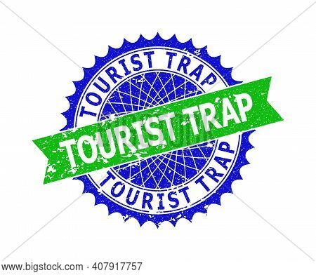 Vector Tourist Trap Bicolor Stamp Seal With Corroded Surface. Blue And Green Colors. Flat Seal Stamp