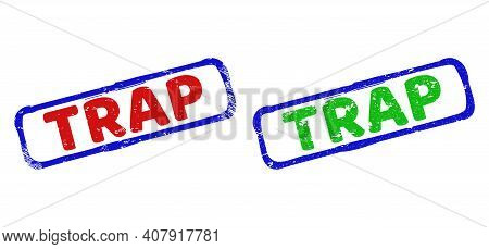 Vector Trap Framed Rubber Imitations With Scratched Surface. Rough Bicolor Rectangle Watermarks. Red