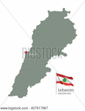 Silhouette Of Lebanon Country Map. Highly Detailed Editable Map Of Lebanon With National Flag And Be