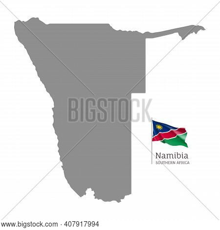 Silhouette Of Namibia Country Map. Gray Editable Map With Waving National Flag, South Africa Country