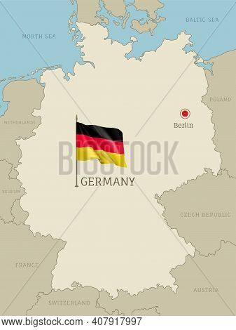 Silhouette Of Germany Country Map. Highly Detailed Editable Germany Map Country Territory Borders Wi