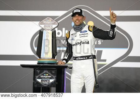 February 11, 2021 - Daytona Beach, Florida, USA: Aric Almirola (10) wins the Bluegreen Vacations Duel 1 at DAYTONA at Daytona International Speedway in Daytona Beach, Florida.