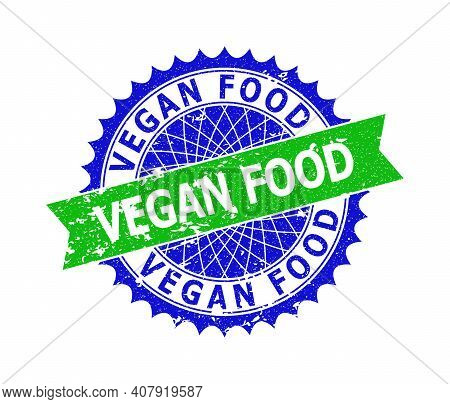 Vector Vegan Food Bicolor Stamp Seal With Corroded Style. Blue And Green Colors. Flat Seal With Vega