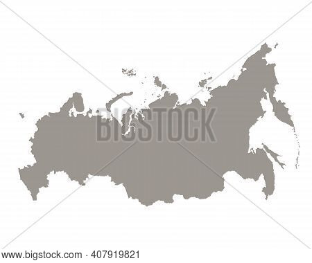 Silhouette Of Russia Country Map. Highly Detailed Editable Gray Map Of Russia Territory Borders. Pol