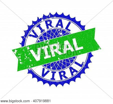 Vector Viral Bicolor Stamp With Corroded Texture. Blue And Green Colors. Flat Stamp With Viral Title