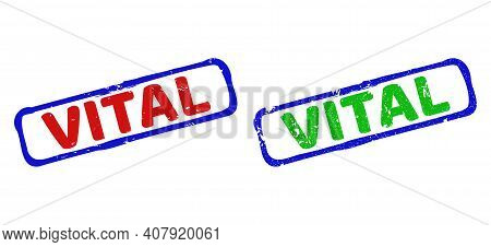 Vector Vital Framed Watermarks With Unclean Style. Rough Bicolor Rectangle Stamps. Red, Blue, Green