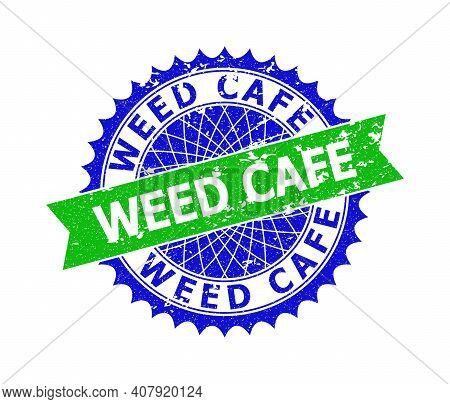 Vector Weed Cafe Bicolor Stamp Seal With Grunge Surface. Blue And Green Colors. Flat Seal Stamp With