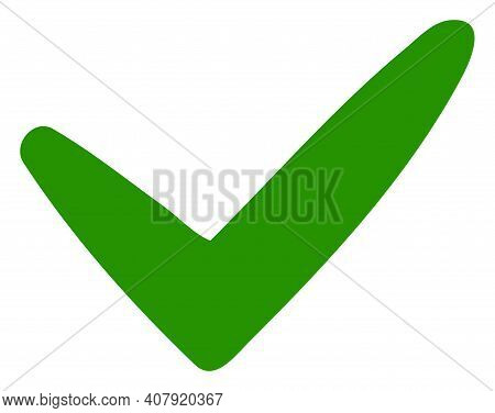 Yes Icon With Flat Style On A White Background. Isolated Vector Yes Icon Image, Simple Style.