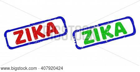 Vector Zika Framed Watermarks With Grunge Style. Rough Bicolor Rectangle Watermarks. Red, Blue, Gree