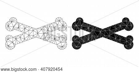 Mesh Bones Polygonal 2d Illustrations, Filled And Carcass Versions. Vector Net Mesh Bones Icons. Lin