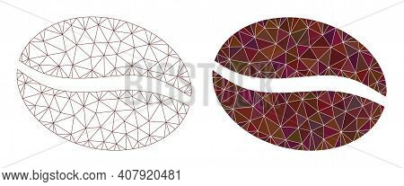 Mesh Coffee Bean Polygonal 2d Illustrations, Filled And Carcass Versions. Vector Net Mesh Coffee Bea