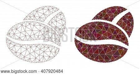 Mesh Coffee Beans Polygonal Icon Illustrations, Filled And Carcass Versions. Vector Net Coffee Beans
