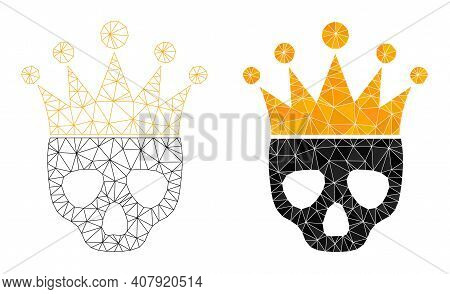 Mesh Dead King Polygonal Icon Illustrations, Filled And Carcass Versions. Vector Net Mesh Dead King