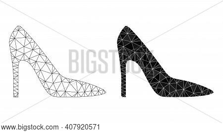 Mesh High Heel Lady Shoe Polygonal Icon Illustrations, Filled And Carcass Versions. Vector Wire Fram