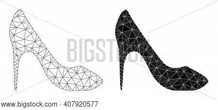 Mesh High Heel Shoe Polygonal Symbol Illustrations, Filled And Carcass Versions. Vector Net Mesh Hig