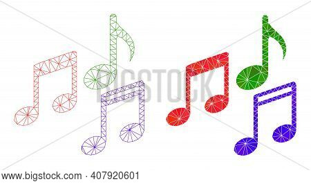Mesh Melody Notes Polygonal Icon Illustrations, Filled And Carcass Versions. Vector Net Mesh Melody