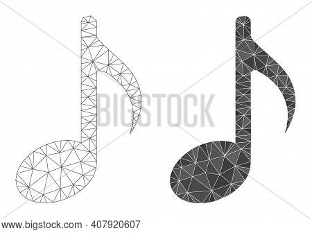 Mesh Music Note Polygonal 2d Illustrations, Filled And Carcass Versions. Vector Network Music Note I