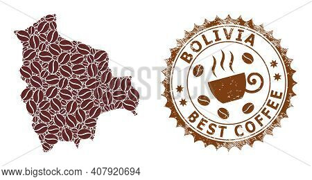 Coffee Mosaic Map Of Bolivia And Scratched Stamp. Vector Map Of Bolivia Collage Is Designed With Cof