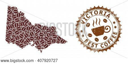 Coffee Mosaic Map Of Australian Victoria And Distress Stamp Seal. Vector Map Of Australian Victoria