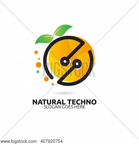Natural Techno Logo Vector Concept, Icon, Element, And Template For Company