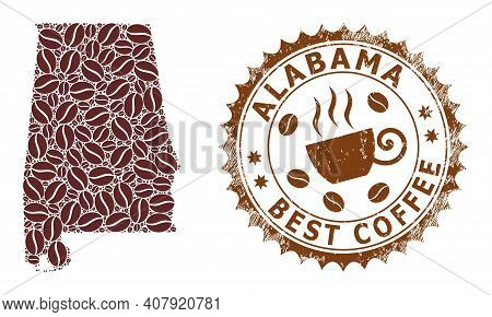 Coffee Mosaic Map Of Alabama State And Scratched Mark. Vector Map Of Alabama State Collage Is Design