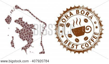Coffee Mosaic Map Of Bora-bora And Unclean Stamp. Vector Map Of Bora-bora Collage Is Composed With C