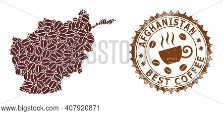 Coffee Mosaic Map Of Afghanistan And Unclean Badge. Vector Map Of Afghanistan Collage Is Formed With