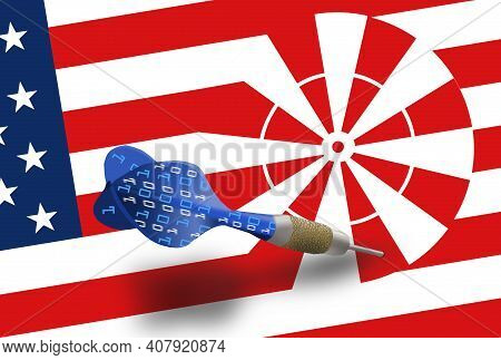 A Dart Decorated With Digital Numbers Is Stuck In A Dartboard That Is Part Of A Usa Flag. This Is A