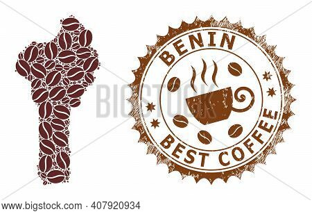 Coffee Mosaic Map Of Benin And Corroded Stamp. Vector Map Of Benin Collage Is Designed With Cocoa Se
