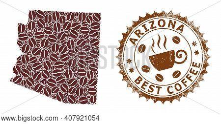 Coffee Mosaic Map Of Arizona State And Scratched Stamp. Vector Map Of Arizona State Collage Is Compo