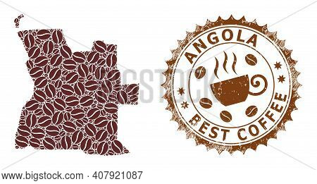 Coffee Mosaic Map Of Angola And Grunge Stamp. Vector Map Of Angola Collage Is Formed With Coffee Bea