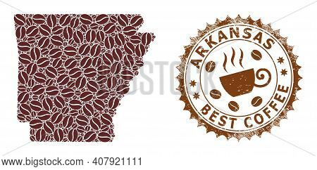 Coffee Mosaic Map Of Arkansas State And Grunge Stamp. Vector Map Of Arkansas State Collage Is Design