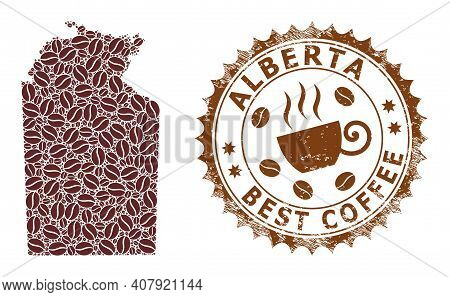 Coffee Mosaic Map Of Australian Northern Territory And Grunge Stamp. Vector Map Of Australian Northe