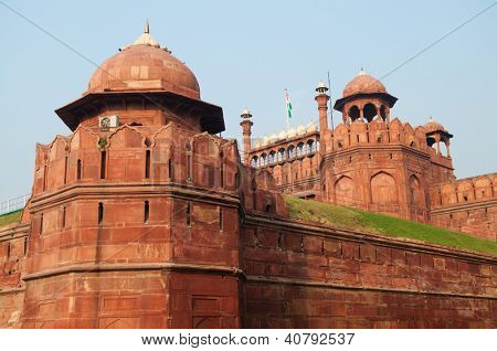 Architectural detail of Lal Qila - Red Fort in Delhi, India