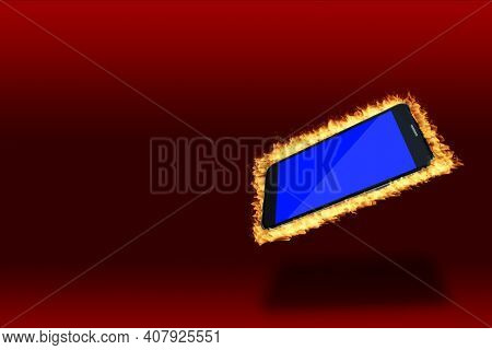 Modern Black Smartphone Hot On Fire Showing Blank Blue Screen Isolated On Red Background With Copy S