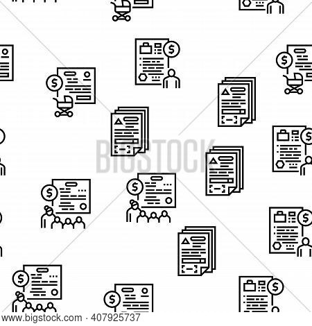 Allowance Finance Help Vector Seamless Pattern Thin Line Illustration
