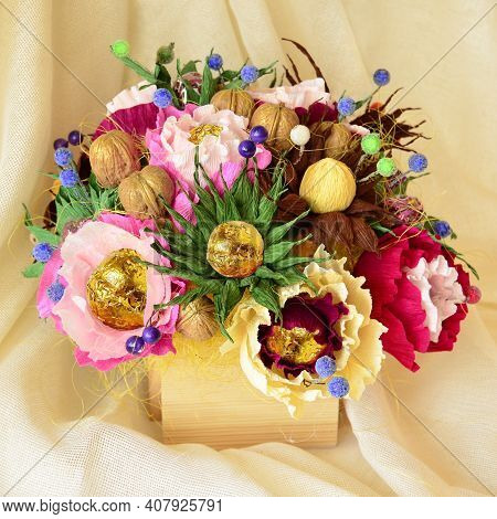 Chocolate Candy Food Bouquet As Gift Sweet Box Closeup. Big Gift Candy Chocolate Decoration Food Bou