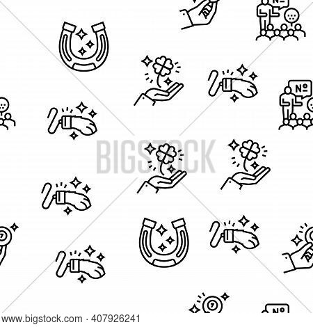 Lotto Gamble Game Vector Seamless Pattern Thin Line Illustration