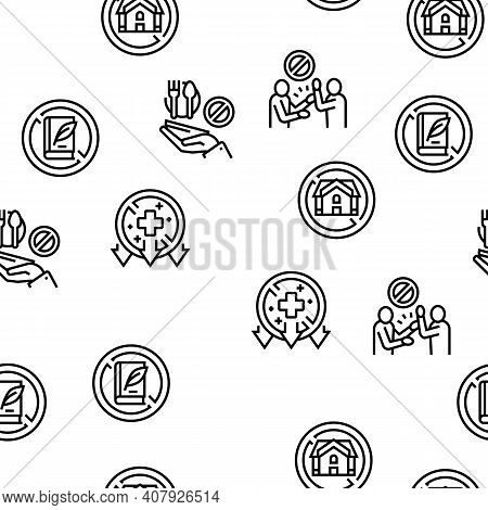 Poverty Destitution Vector Seamless Pattern Thin Line Illustration