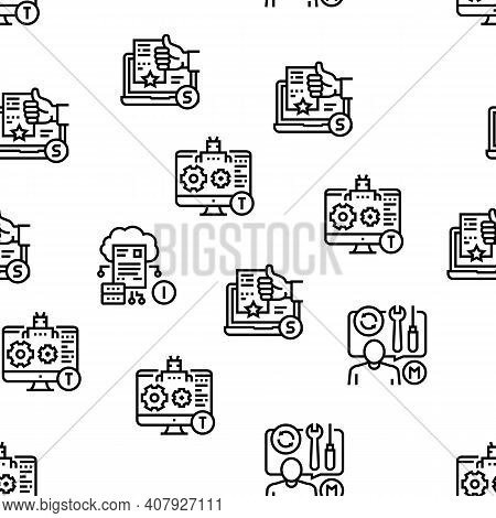 Incident Management Vector Seamless Pattern Thin Line Illustration