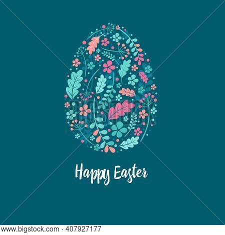 Happy Easter Greeting Card. Pastel Easter Egg With Floral Pattern And Lettering, Vector Illustration