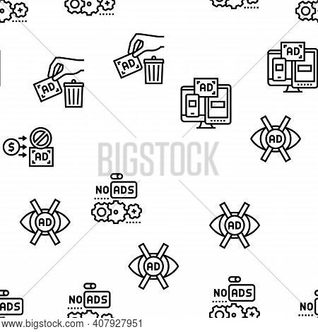 No Ads Advertise Free Vector Seamless Pattern Thin Line Illustration