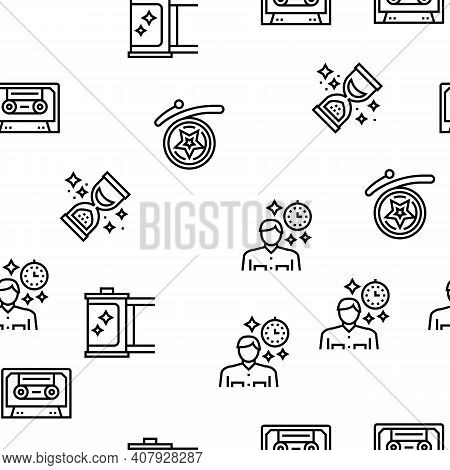 Nostalgia And Memory Vector Seamless Pattern Thin Line Illustration
