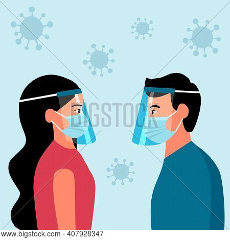 Man And Woman Wearing Face Mask And A Plastic Medical Face Shield Around With Virus Cells. Close Up