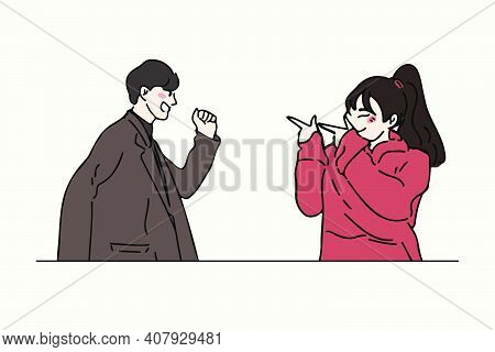 Woman Pointing A Finger And Posing Cute To Her Boyfriend. Cute Pose Of Couple In Love Hand Drawn Sty